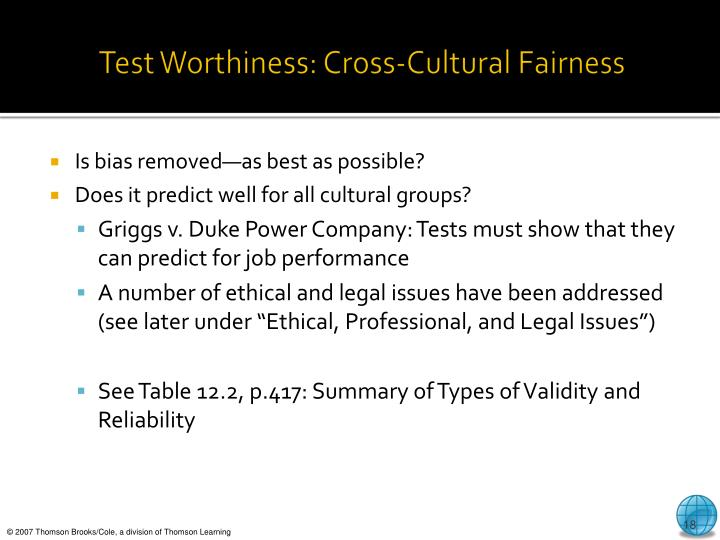 Test Worthiness: Cross-Cultural Fairness
