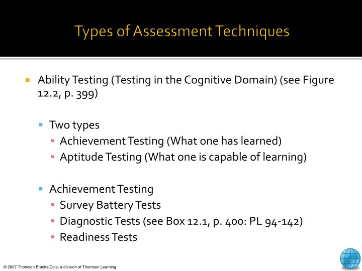 Types of Assessment Techniques