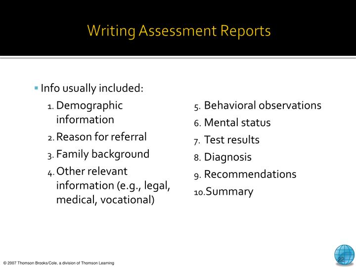 Writing Assessment Reports