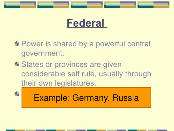Example: Germany, Russia