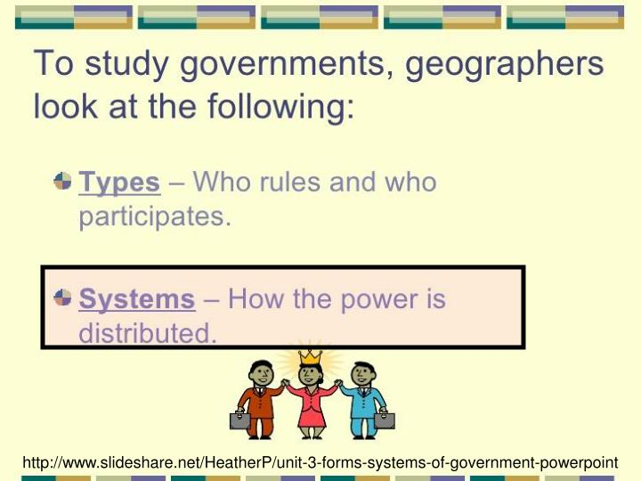 http://www.slideshare.net/HeatherP/unit-3-forms-systems-of-government-powerpoint