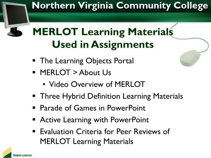 MERLOT Learning Materials Used in Assignments
