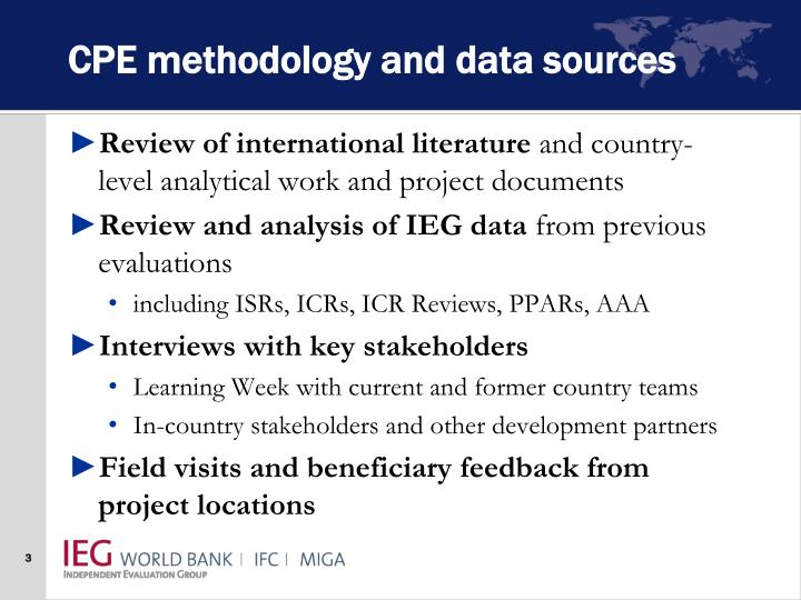 Cpe methodology and data sources