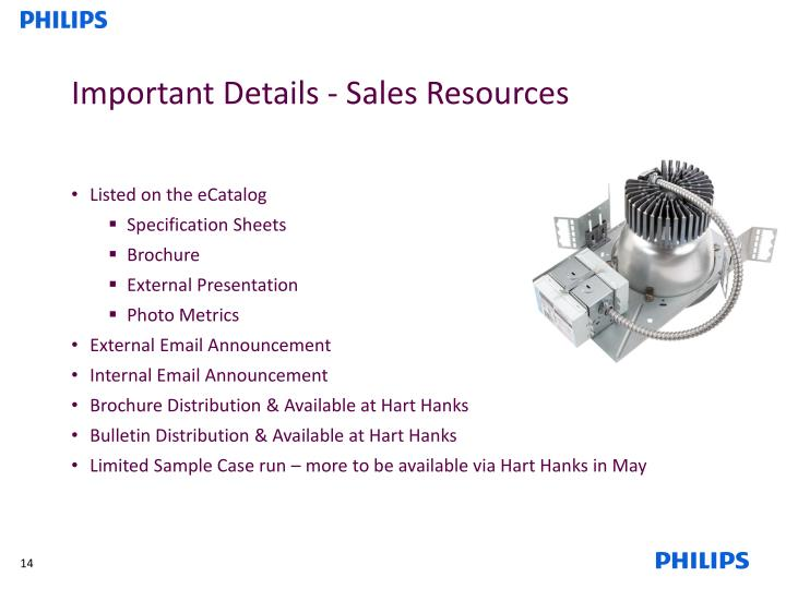Important Details - Sales Resources