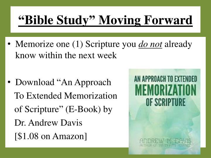 """Bible Study"" Moving Forward"