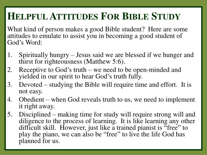 Helpful Attitudes For Bible Study