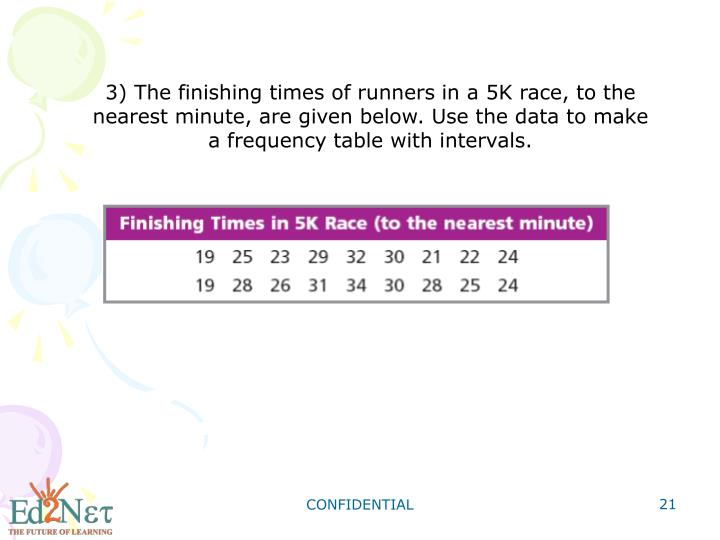 3) The finishing times of runners in a 5K race, to the nearest minute, are given below. Use the data to make a frequency table with intervals.