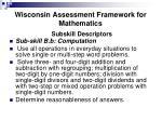wisconsin assessment framework for mathematics subskill descriptors