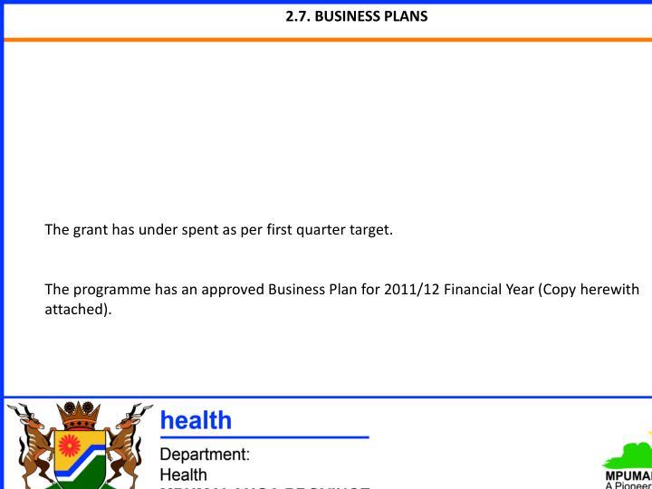 2.7. BUSINESS PLANS
