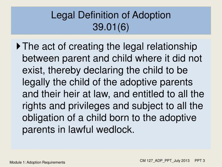 Legal definition of adoption 39 01 6