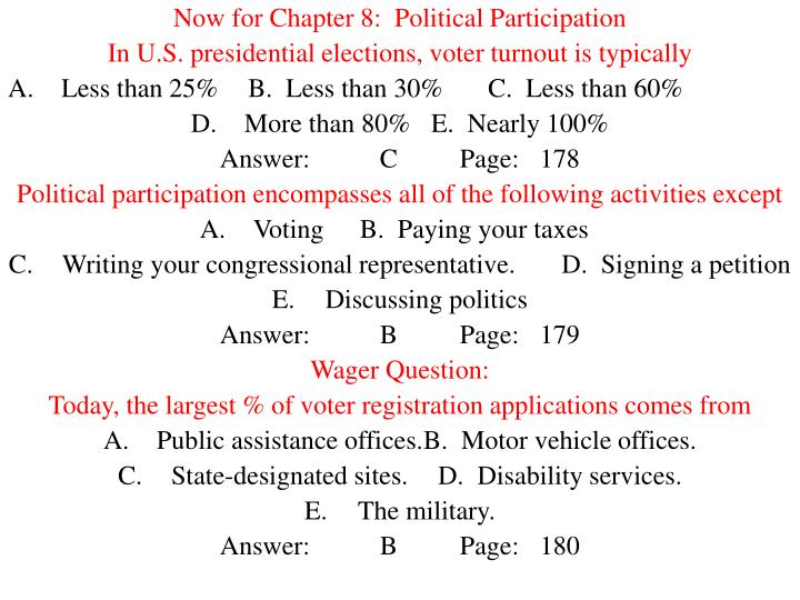 Now for Chapter 8:  Political Participation