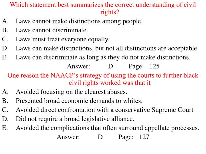 Which statement best summarizes the correct understanding of civil rights?