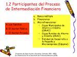 1 2 participantes del proceso de intermediaci n financiera