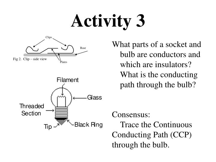 What parts of a socket and bulb are conductors and which are insulators? What is the conducting path through the bulb?