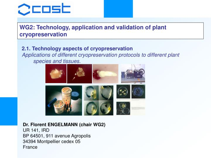 WG2: Technology, application and validation of plant cryopreservation