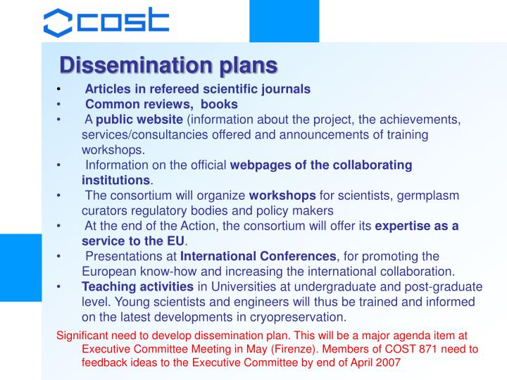 Dissemination plans
