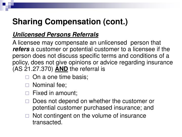 Sharing Compensation (cont.)