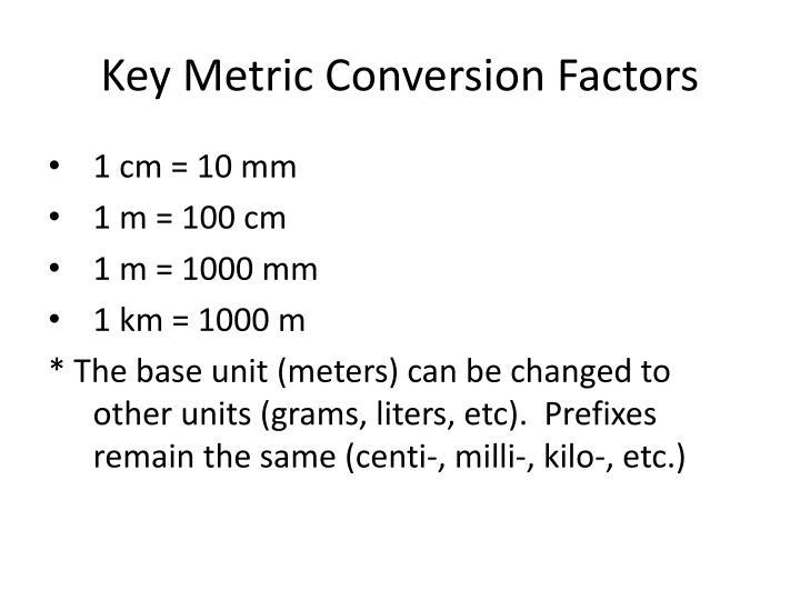 Key metric conversion factors
