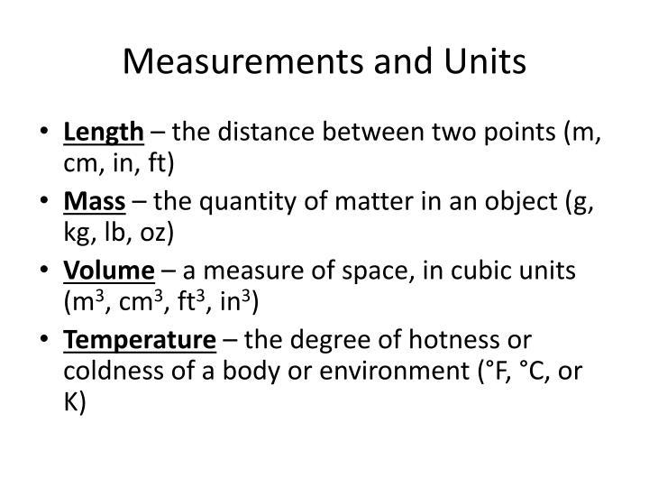 Measurements and units