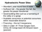 hydroelectric power sites