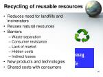 recycling of reusable resources
