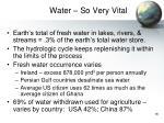 water so very vital