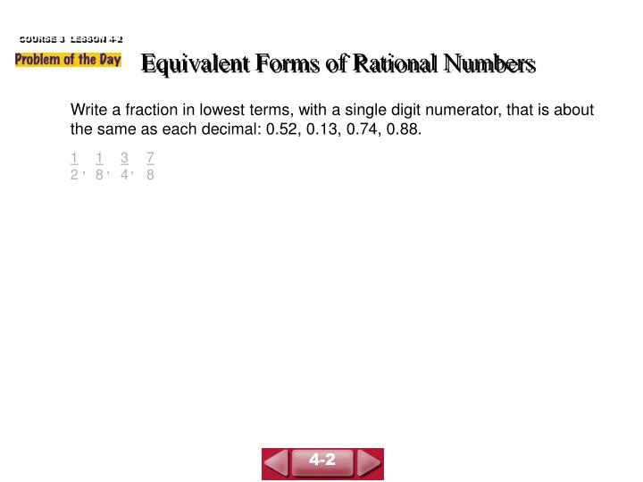 equivalent forms of rational numbers n.