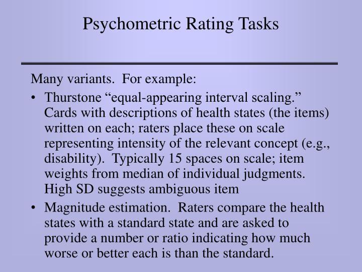 Psychometric Rating Tasks