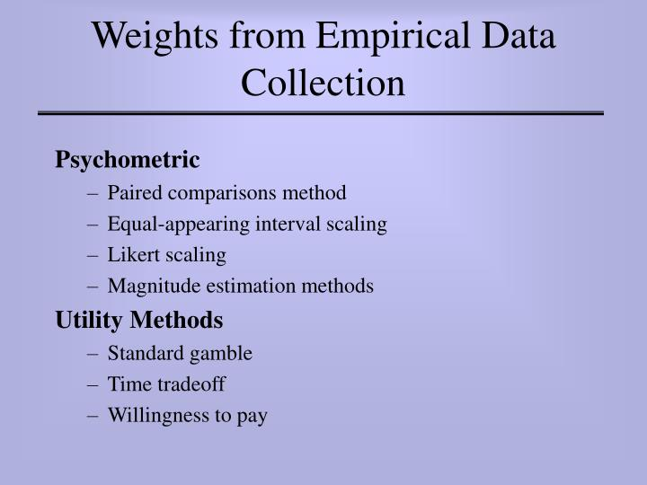 Weights from Empirical Data Collection