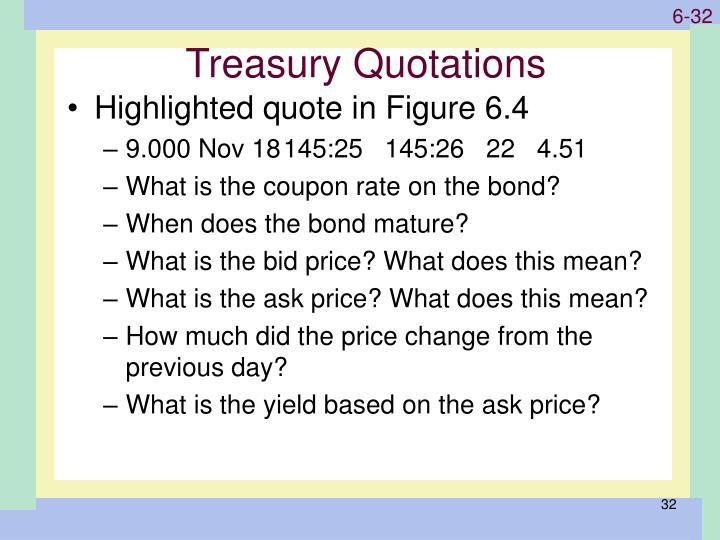 Treasury Quotations