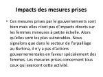 impacts des mesures prises