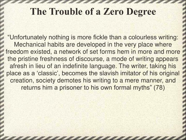 The Trouble of a Zero Degree