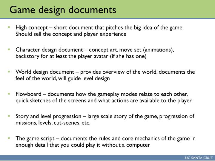 PPT Lecture CS Game Design Studio PowerPoint Presentation - High concept document game design