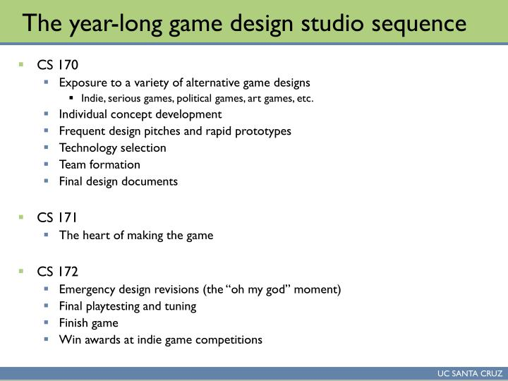 The year long game design studio sequence