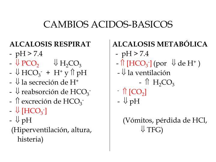CAMBIOS ACIDOS-BASICOS