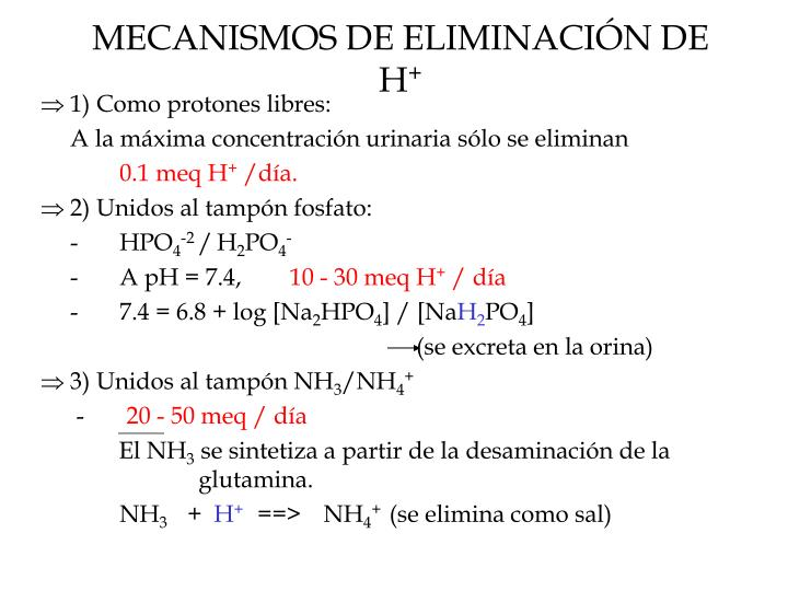 MECANISMOS DE ELIMINACIÓN DE H