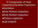 9 components of meat inspection facilities inspection