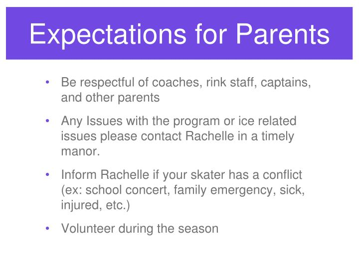 Expectations for Parents