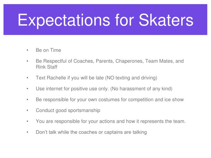 Expectations for Skaters