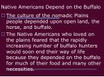 native americans depend on the buffalo