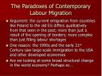 the paradoxes of contemporary labour migration1