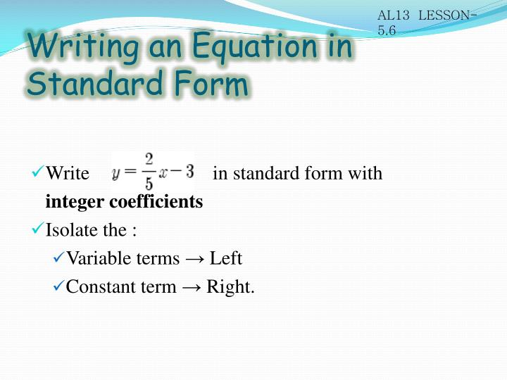 Writing an equation in standard form1