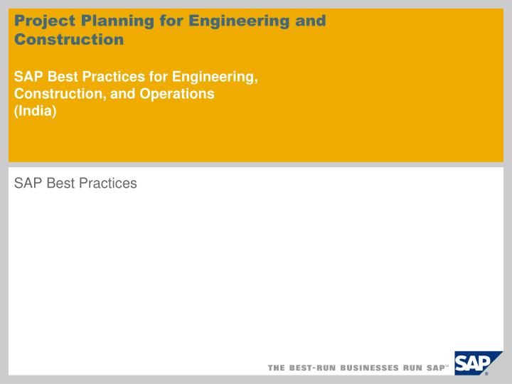 Project Planning for Engineering and Construction