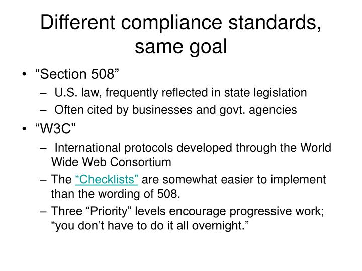 Different compliance standards, same goal