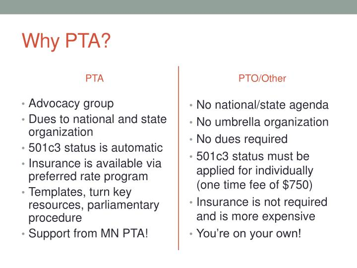 Why PTA?