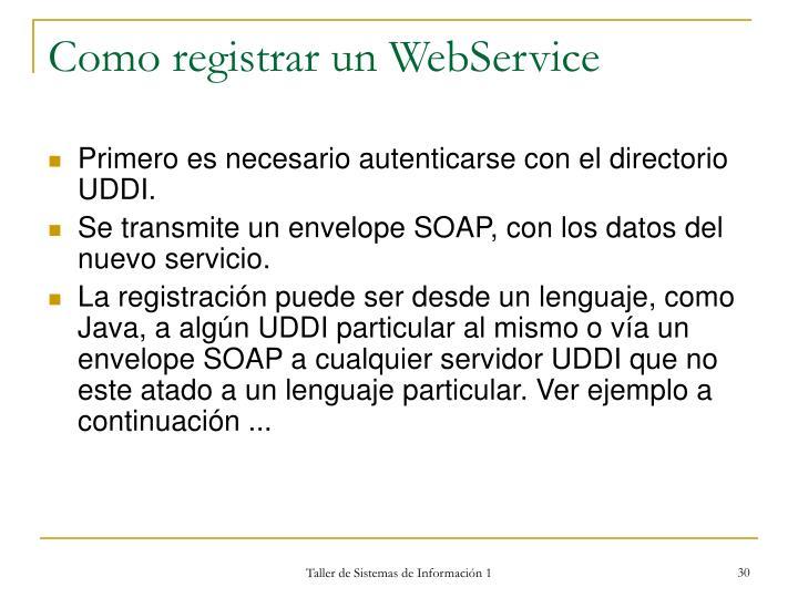 Como registrar un WebService