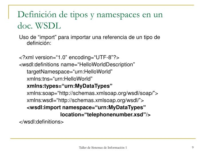 Definición de tipos y namespaces en un  doc. WSDL