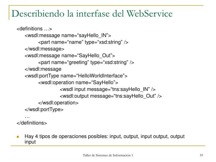 Describiendo la interfase del WebService