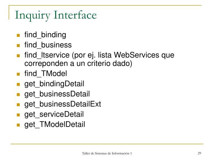 Inquiry Interface