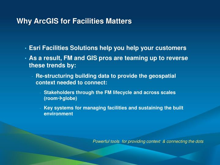 Why ArcGIS for Facilities Matters